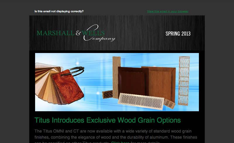 Marshall Wells Newsletter Spring 2013